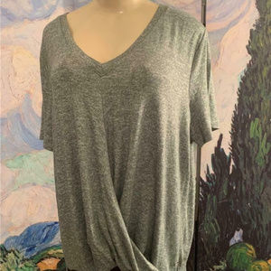 Calvin Klein Green Space-Dye Crossover V-Neck Top